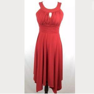 Sangria - Red Dress with Keyhole Halter Neckline!